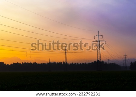 Electrical power lines. Electrical power and energy. Alternative energy