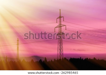 Electrical power lines. Electrical power and energy. Rays of light. Alternative energy - stock photo