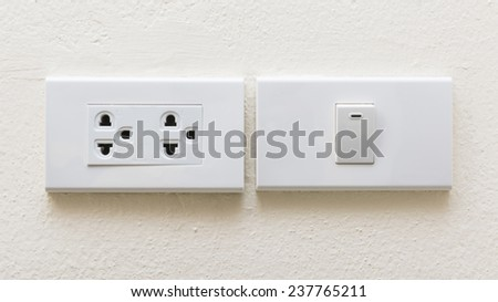 electrical power socket and plug switched - stock photo