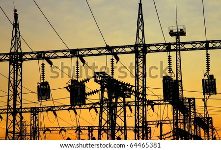 Electrical power station. Sunrise.