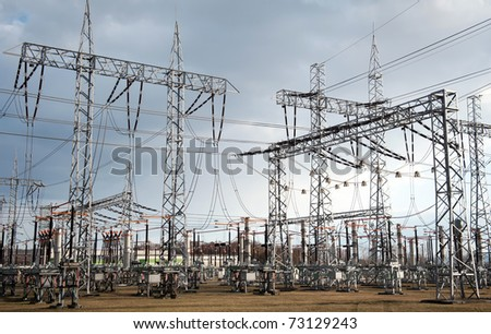 electrical power station with dramatic sky in background