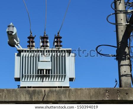 Electrical power transformer - stock photo