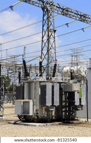 Electrical power transformer in high voltage substation - stock photo