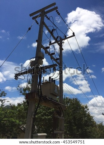 Electrical power transformer on high pole in Thailand