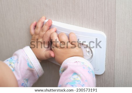 electrical protection of ac power outlet for babies - stock photo