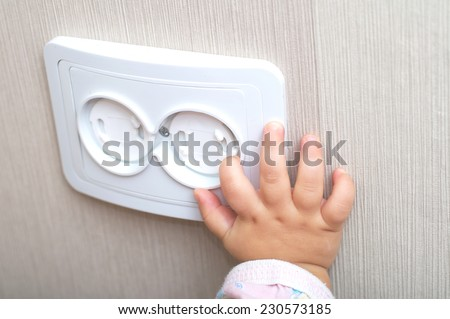 electrical reliability of ac power outlet for babies - stock photo