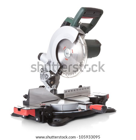 Electrical saw with circular blade for wood. Isolated on white - stock photo