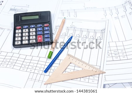 Electrical scheme, calculation and drawing - stock photo