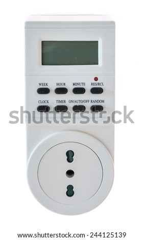 Electrical socket timer with schuko socket and italian - stock photo