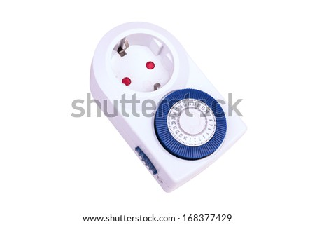 Electrical socket with blue timer isolated on white background - stock photo