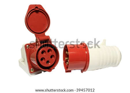 Electrical sockets and plugs. Close-up isolated on a white background. - stock photo