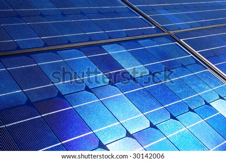Electrical solar cell panel in sunlight