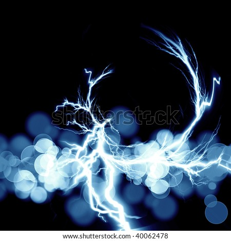electrical spark on a dark black background - stock photo
