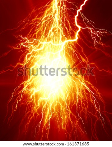 electrical spark or lightning on a bright red background - stock photo