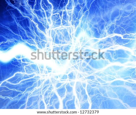 electrical sparks on a bright blue background - stock photo