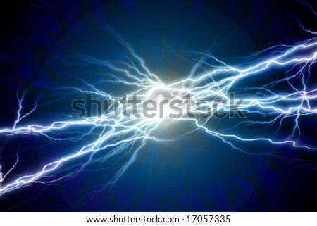 Electrical sparks on a solid black background - stock photo