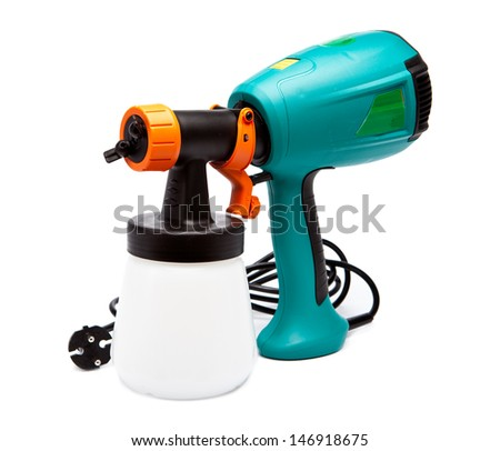 electrical spray gun for coloration, for color pulverization   - stock photo