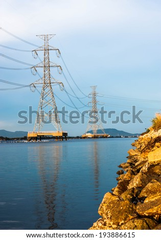 Electrical substation and tower  - stock photo