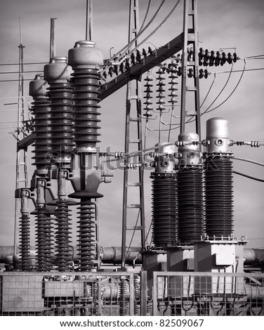Electrical Substation Insulators - stock photo