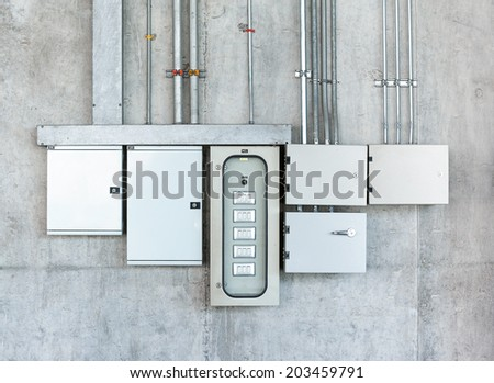 Electrical switch gear and circuit breakers - stock photo