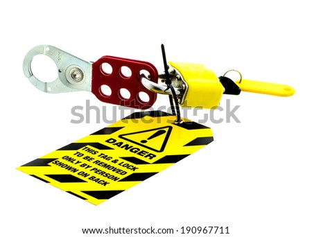 Electrical Tag & Lock on a white background - stock photo