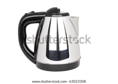electrical tea kettle isolated on white - stock photo