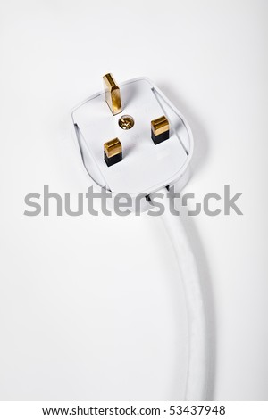 Electrical three pin plug head on white background - stock photo