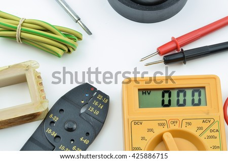 Electrical tools and parts DIY with meter. - stock photo