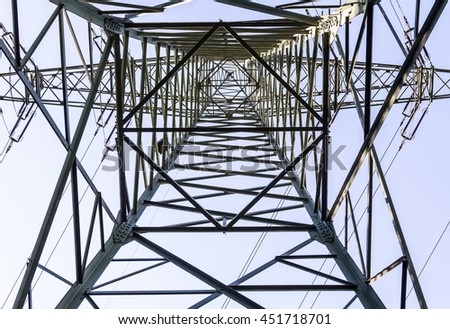 electrical tower from inside perspective of construction