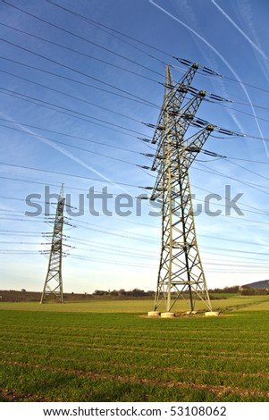 electrical tower in beautiful landscape with sky