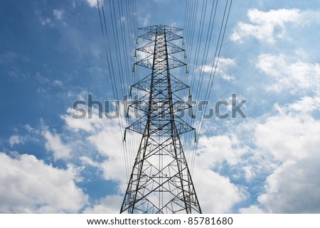 Electrical tower on the cloud blue sky - stock photo