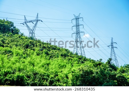 Electrical Towers on Mountain, Thailand. - stock photo