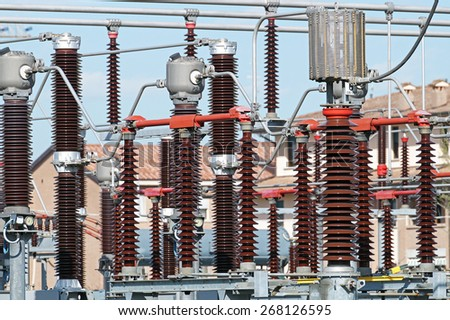 electrical transformer detail - stock photo