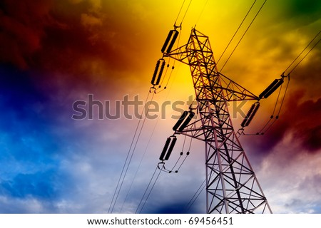 electrical transmission tower landscape.Energy concept - stock photo