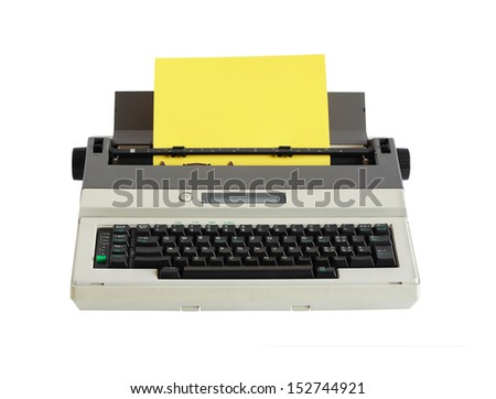 Electrical typewriter with blank yellow paper sheet on white background. Clipping path is included - stock photo