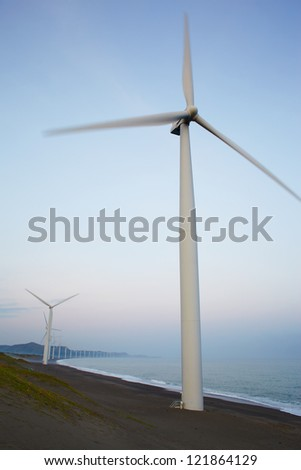 Electrical windmills on sea cost, north Philippines, Pagudpud