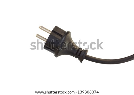 electrical wire and plug. black