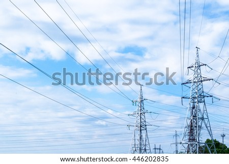 Electrical wire with sky. Powerlines against a background of the sky. High-voltage power lines. Electricity pylon. - stock photo