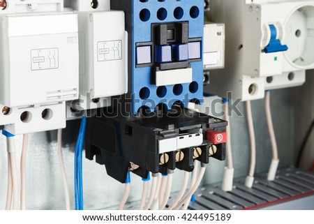 electrical wires and sockets close up - stock photo