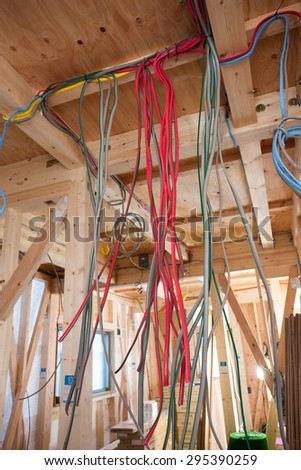 Electrical wiring work of housing construction.