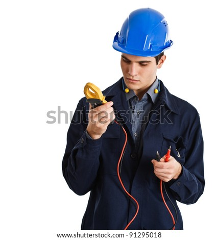Electrician looking at a tester - stock photo