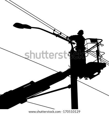 Electrician, making repairs at a power pole.  illustration. - stock photo
