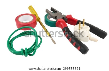 Electrician Tools Cable Box For Installation Of Sockets And Disassembled Outlet Before Installing