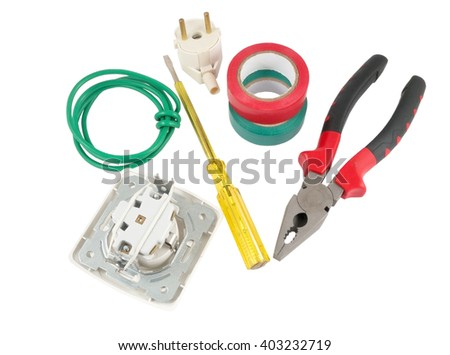 Electrician tools, cable, box for installation of sockets and disassembled outlet before installing  - stock photo