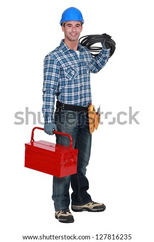 Electrician with a toolbox - stock photo