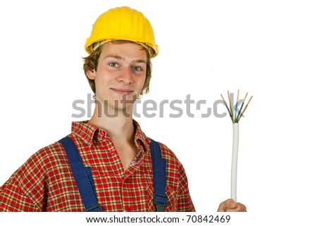 Electrician with power cable - isolated - stock photo