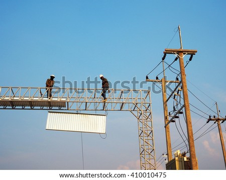 Electrician worker on the Working at height - stock photo