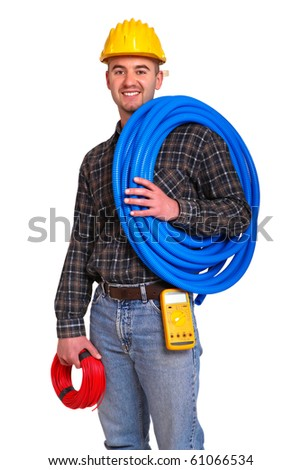 Electrician worker with tools isolated on white background. - stock photo