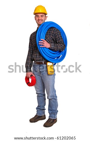 Electrician worker with tools on white background.