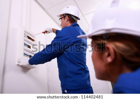 electrician working - stock photo